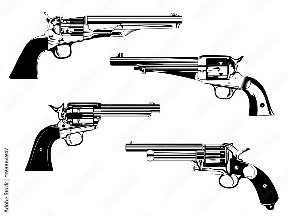 Fototapeta revolvers different models