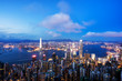 View of Hong Kong City skyline at dusk. View from The peak Hongkong.