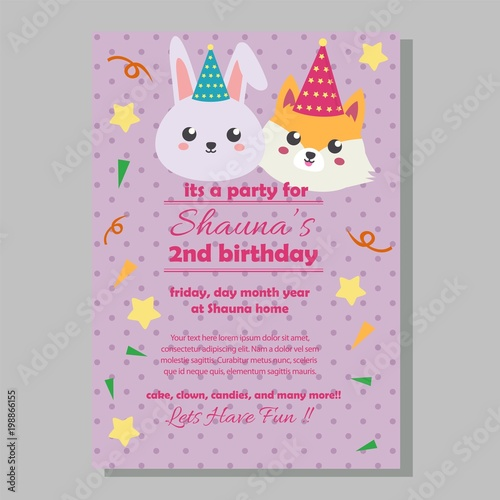 Party Birthday Invitation Template With Rabbit And Fox