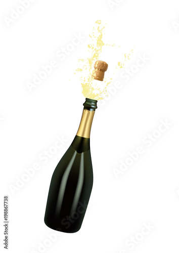 Fotografie, Obraz Vector illustration of opened bottle of champagne or sparkling wine with a cork and splash in photorealistic style