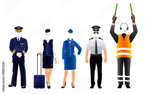 Valokuva  Pilot stewardess and air traffic controller uniform