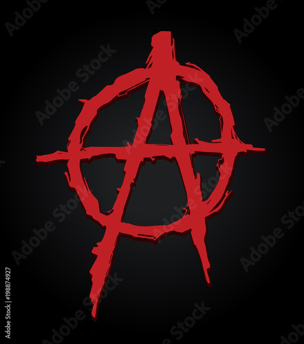 Photo grungy illustration of the anarchy symbol