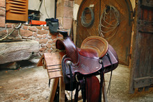 An Old Saddle For A Horse On A...