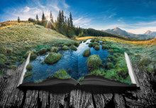 Alpine Mountain Valleyon The Pages Of An Open Book