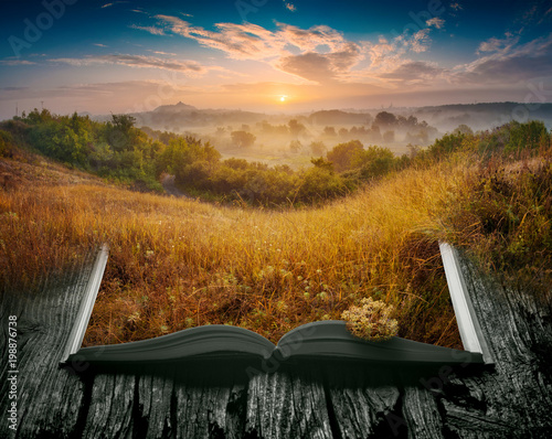 Spoed Foto op Canvas Grijze traf. Summer misty valley on the pages of an open book