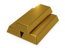 Three Gold Bars 3d Rendering