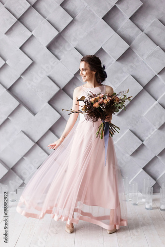 Beautiful Young Bride In Beige Wedding Dress With Perfect