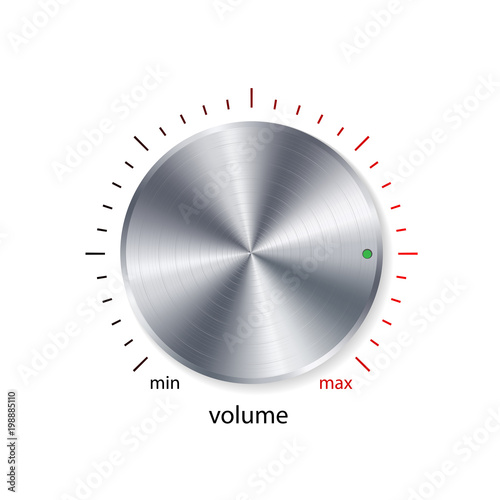 Volume button, sound control, music knob with metal chrome brushed