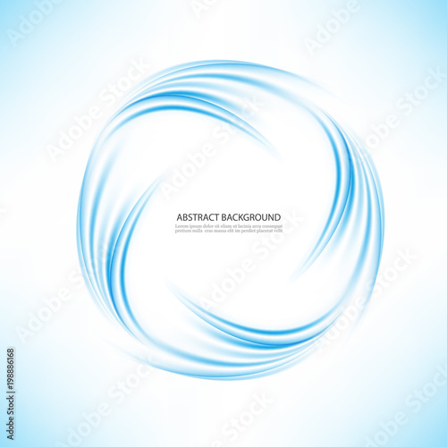 Abstract blue swirl circle on transparent background  Vector