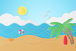 Summer Holiday on the beach, Background Design Paper Art Style-Vector Illustration
