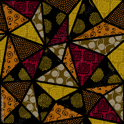 Tela  Ethnic boho seamless pattern in african style on black background