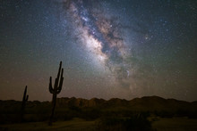 The Milky Way And Starry Night Night In The Arizona Desert.
