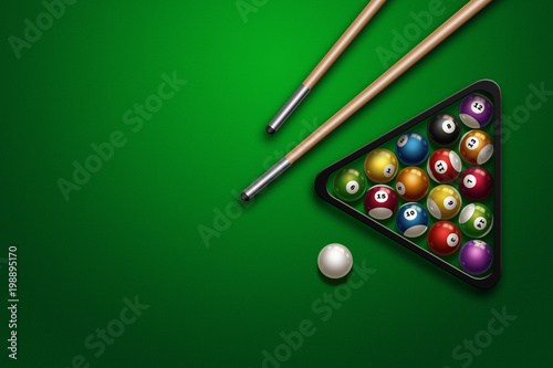 Canvastavla sports theme with billiards, a full set of billiard balls, cue, on a green background