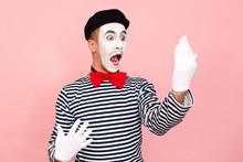 Street Artist In A Striped Sweater, White Gloves Looking Mirror, Scream