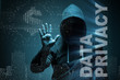 Data privacy concept with hacker stealing personal information