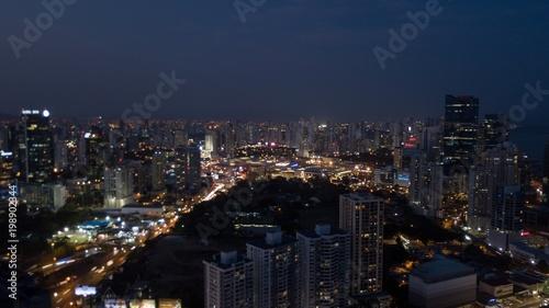 Aluminium Prints Los Angeles Beautiful aerial view the City of Panama At Night