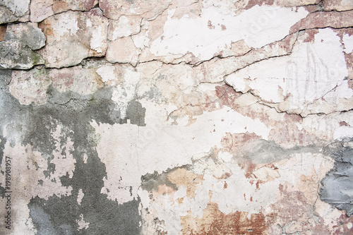 Photo sur Aluminium Vieux mur texturé sale Crack wall brick plaster texture. Old abstract broken architecture background. Scratched stucco. For banner and wallpaper.