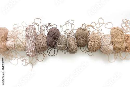 Fototapeta Wool and cotton yarn for knitting of neutral natural color