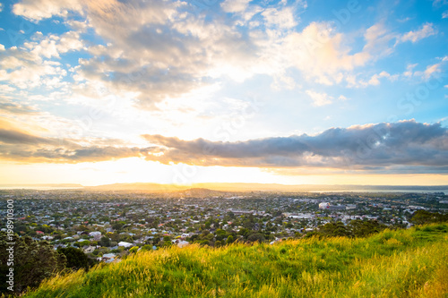 Tuinposter Beige Beutiful landscape of Auckland city at sunset, New Zealand. view from Mt. Eden.