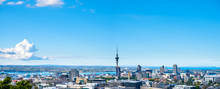 Panorama, Landscape Of Auckland City, New Zealand With The Sea, Tower, Blue Sky And Cloud.  View From Mt. Eden