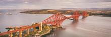 Aerial View Of The Iconic Forth Bridge Near Edinburgh. Scotland, UK