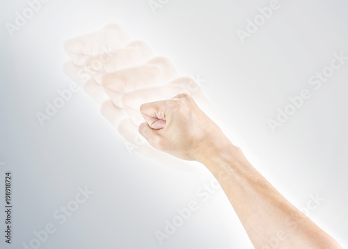 Valokuva  biff hand isolated on white background