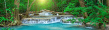 Fototapeta Natura - Panoramic beautiful deep forest waterfall in Thailand