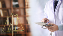 Law Concept Judge Law Medical Pharmacy Compliance Health Care Business Rules.