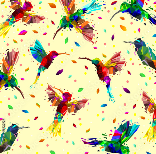 Pattern of low poly colorful hummingbird with falling leaves