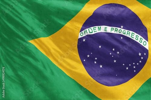 Fotografie, Obraz  Flag of Brazil full frame close-up