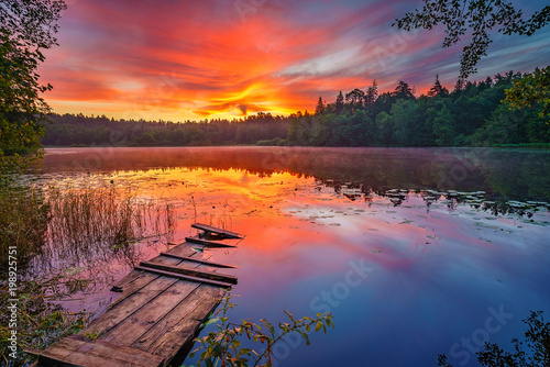 Bright sunrise over forest lake