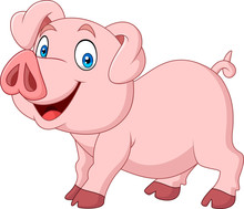 Cartoon Happy Pig Cartoon Isol...