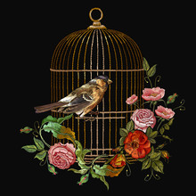 Embroidery Birds And Birds Cage And Flowers Vector. Spring Fashion Art, Template For Design Of Clothes, T-shirt. Classical Embroidery Titmouse, Golden Cage, Vintage Buds Of Wild Roses