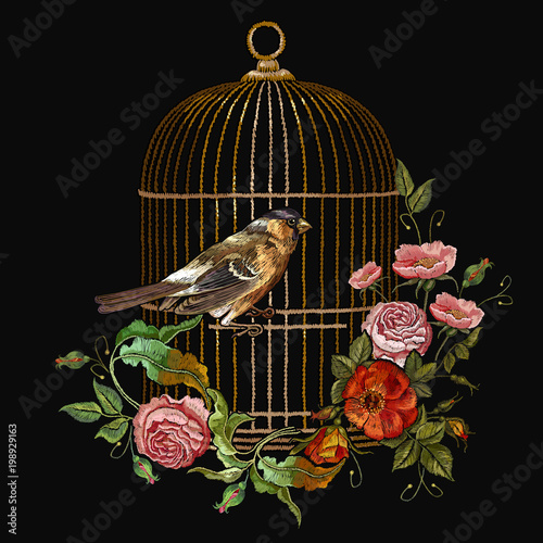 Fotografie, Obraz  Embroidery birds and birds cage and flowers vector