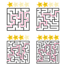 A Square Labyrinth With An Entrance And An Exit. A Set Of Four Options From Simple To Complex. Rated From The Cute Stars. Vector Illustration Isolated On White Background. With The Answer.