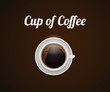 Top view of cup of coffee with foam. Realistic vector illustration on a brown background