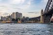 View of Luna Park and city skyline across Sydney Harbour