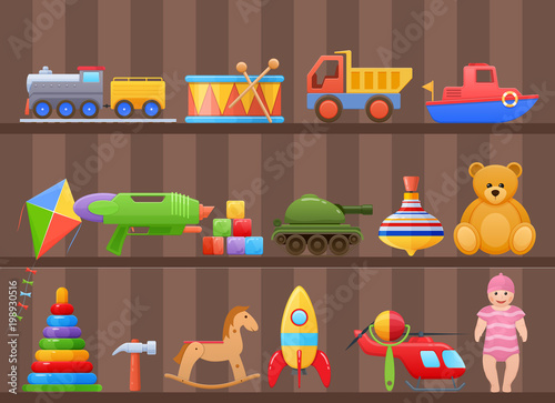 Set colorful kids, children's toys cartoon, on shelf of cabinet. #198930516