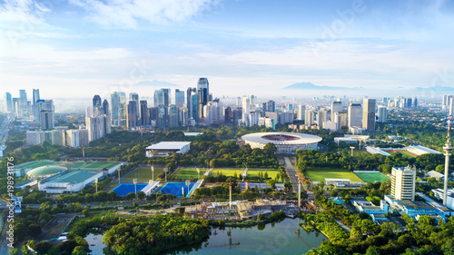 Beautiful Senayan stadium complex under blue sky