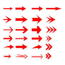 Red Arrow Icons Set. Different Shape Concept, Internet Button Isolated On White Background, Graphic Design. Vector Illustration.