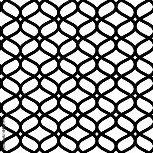 Black and white geometric moroccan ornament abstract lattice seamless pattern, v Billede på lærred