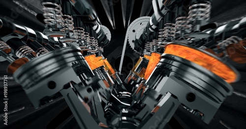 Leinwand Poster CG model of a working V8 engine with explosions and sparks