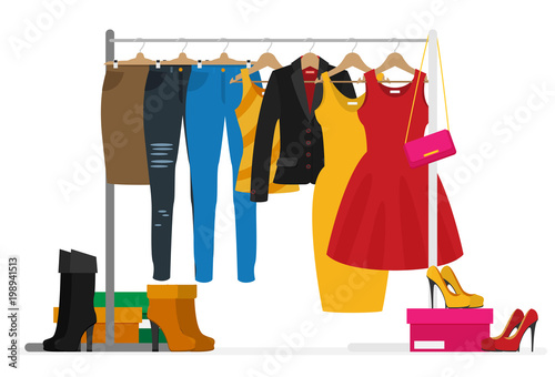 Obraz Flat vector racks with clothes on hangers - fototapety do salonu