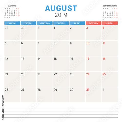 Fototapeta Calendar planner for August 2019. Week starts on Monday. Printable vector stationery design template obraz na płótnie