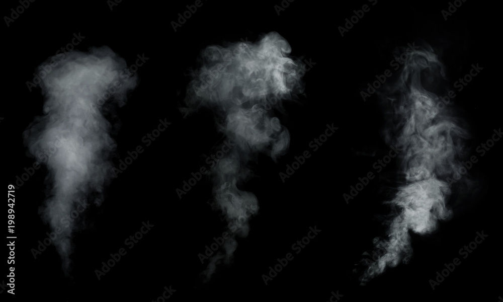 Fototapety, obrazy: White smoke, fog collection isolated on black background.