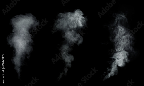 Garden Poster Smoke White smoke, fog collection isolated on black background.