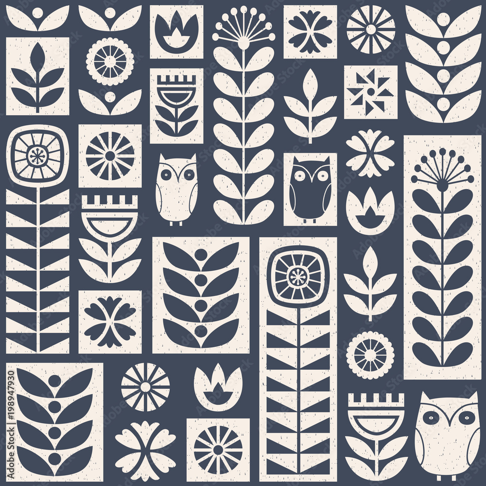 Scandinavian folk art seamless vector pattern with flowers, plants and owls on worn out texture in minimalist style