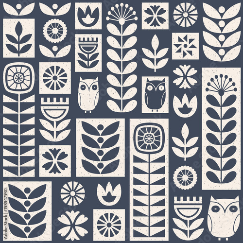 Scandinavian folk art seamless vector pattern with flowers, plants and owls on w Fototapeta