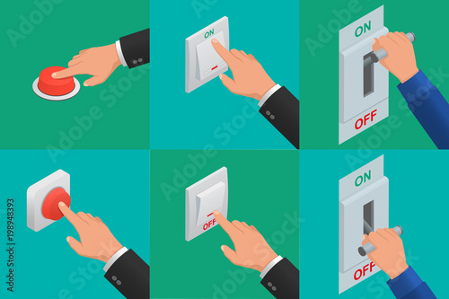Photo Set of realistic vector hands pressing buttons