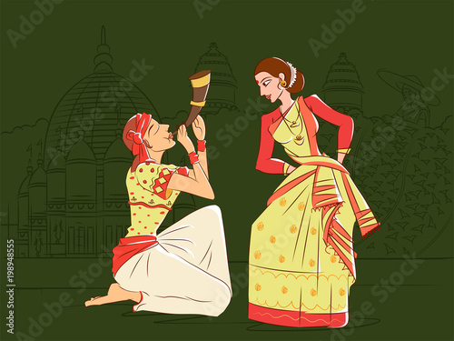 Photo Couple performing Bihu folk dance of Assam, India